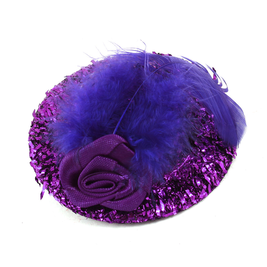 Feather Flower Accent Purple Mini Hat Cap Shape Metallic Single Prong Alligator Hair Clip for Girls