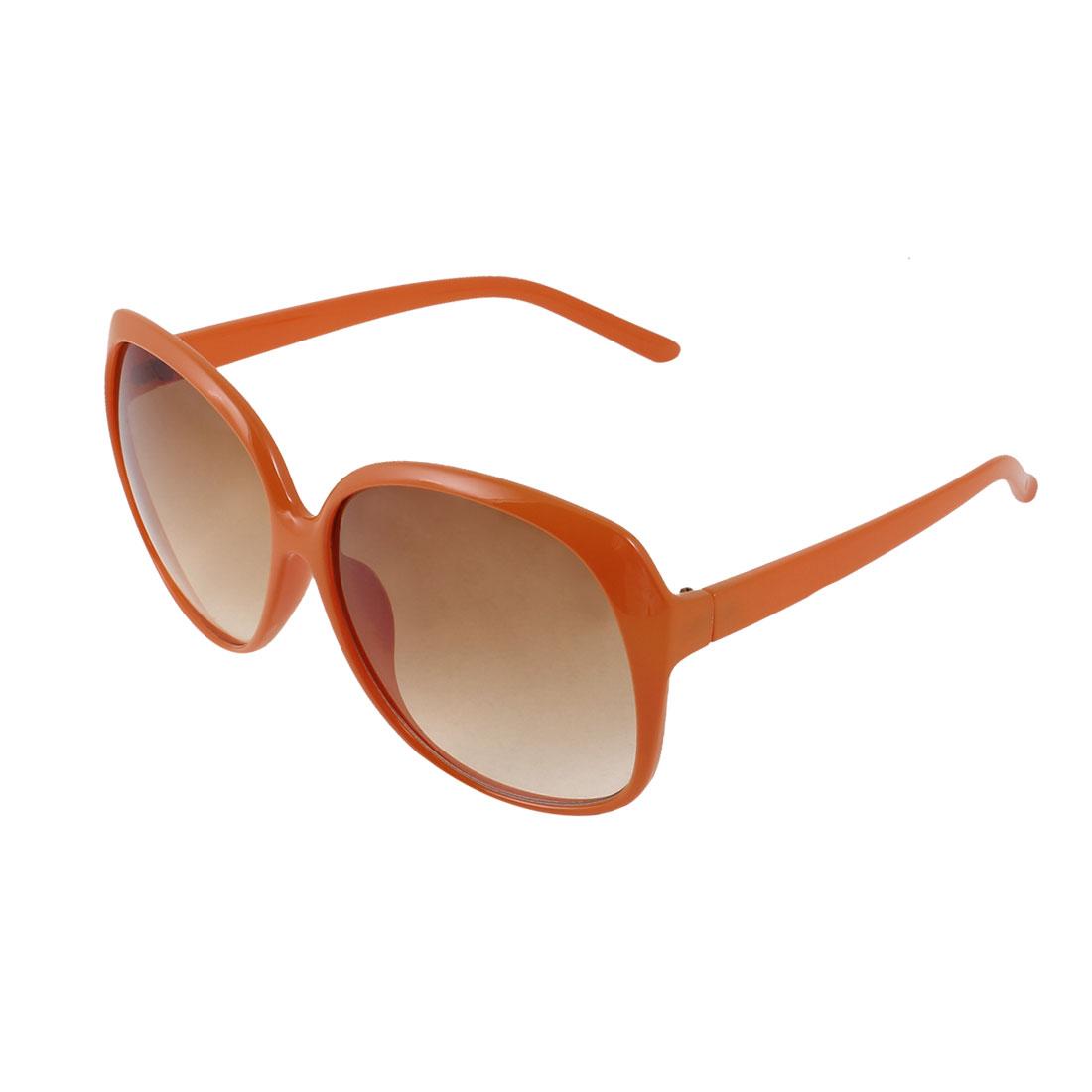 Single Bridge Orange Plastic Full Rim Frame Gradient Brown Lens Outdoor Leisure Sunglasses Eyeglasses for Lady