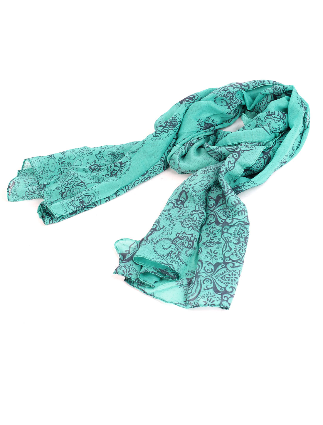 Gray Green Porcelain Print National Style Soft Gauze Scarf Shawl for Ladies