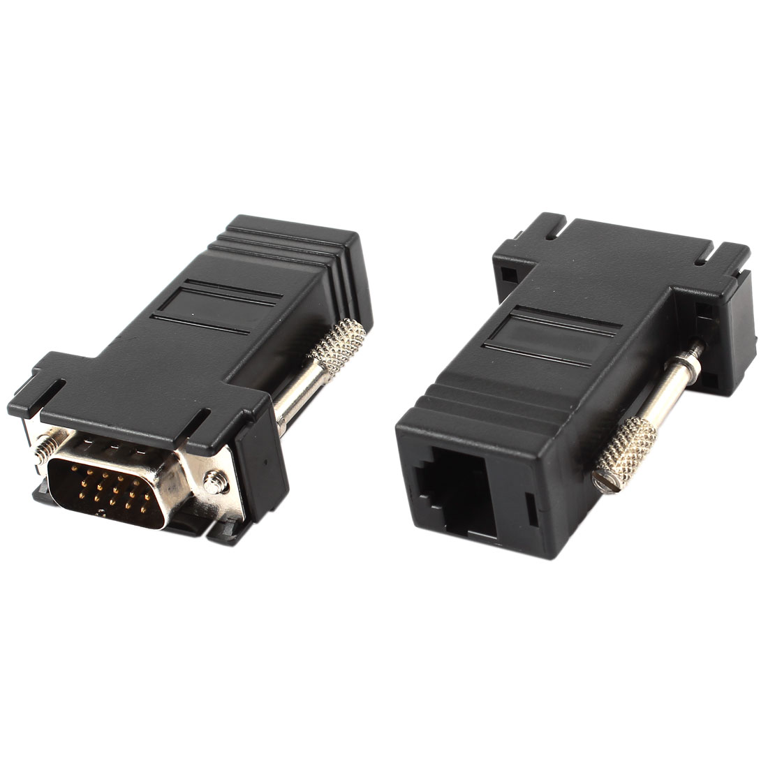 Computer VGA 15 Pin HD15 Male to RJ45 Female Connector Adapter Black 2pcs
