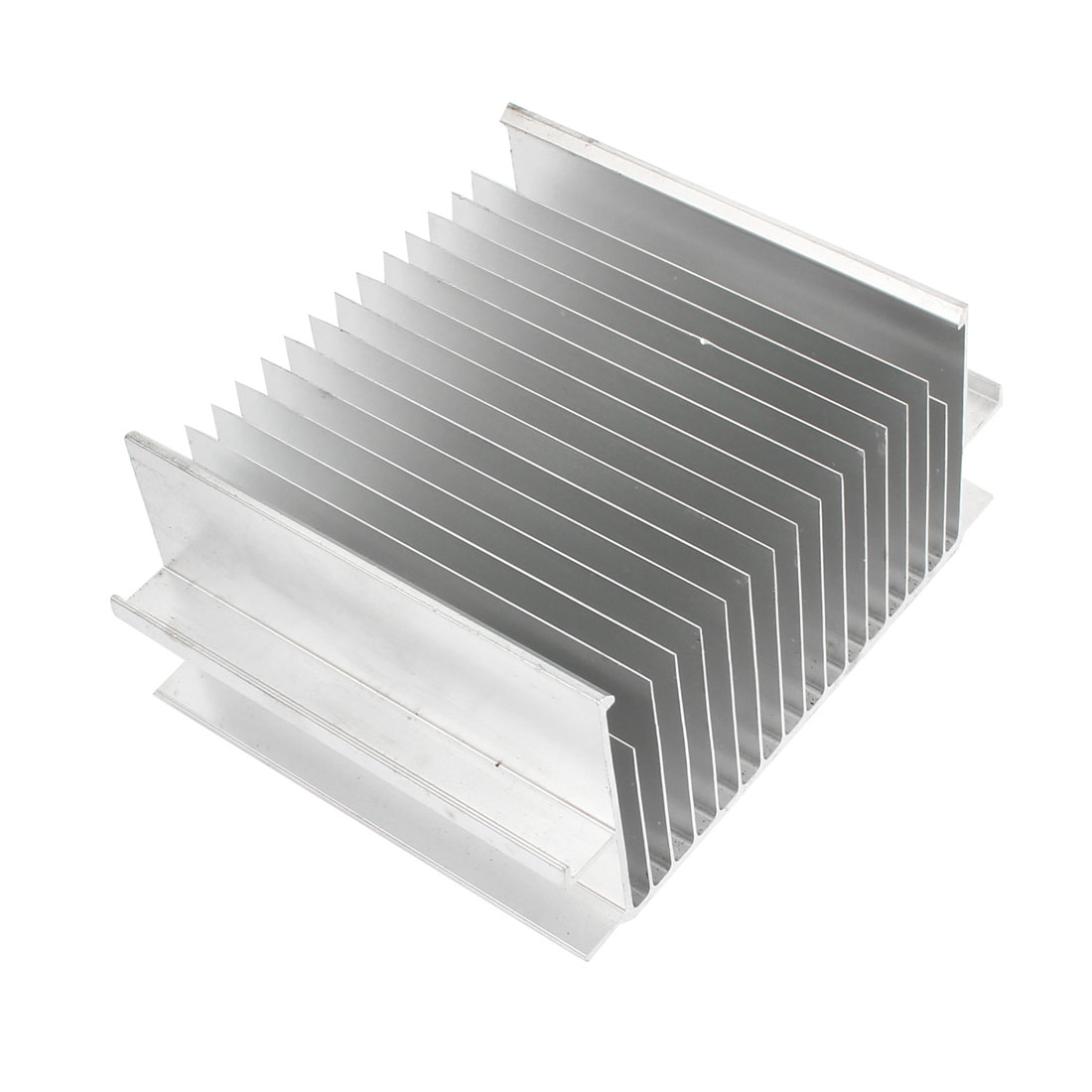 Rectangle Aluminum Heatsink Heat Sink Cooling Cooler Fin 85mmx68mmx41mm Silver Tone for Mosfet IC
