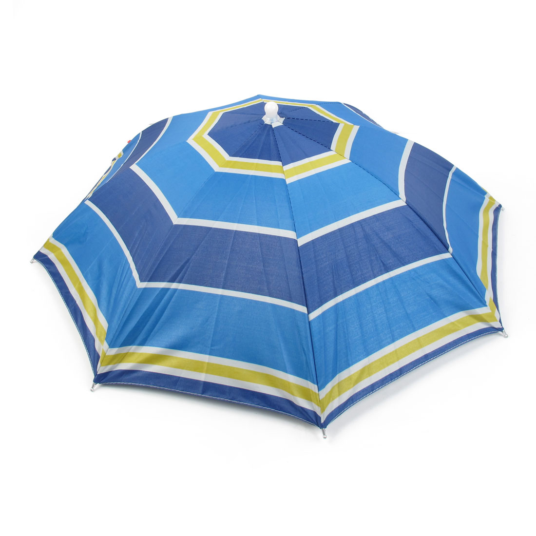 Stripes Printed Tri Color Polyester Metal Sturdy Ribs Fishing Sun Hat Umbrella