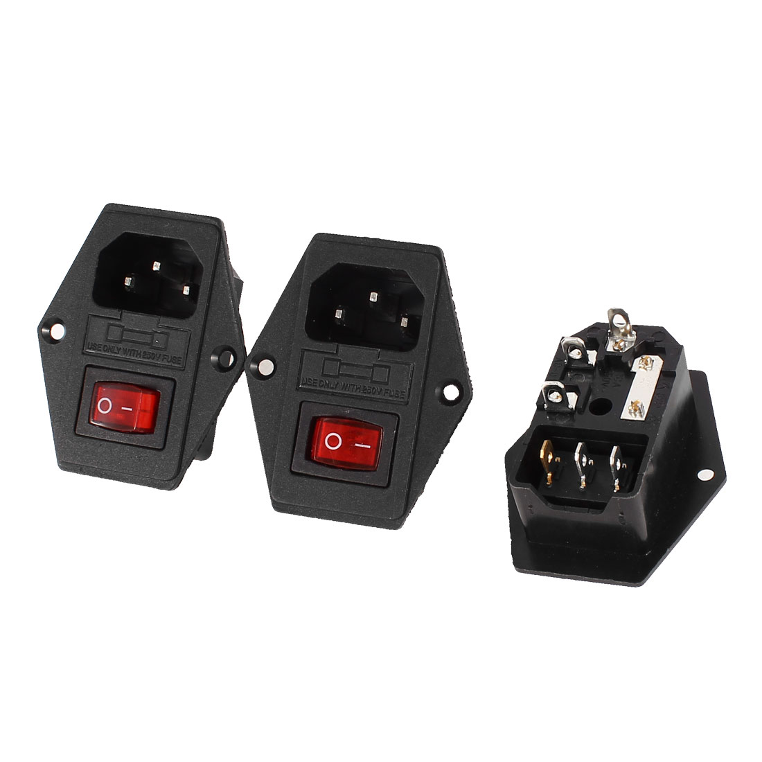 3 Pcs 3Pin SPST Red Light Rocker Switch IEC320 C14 Inlet Power Socket w Fuse AC 250V 5A