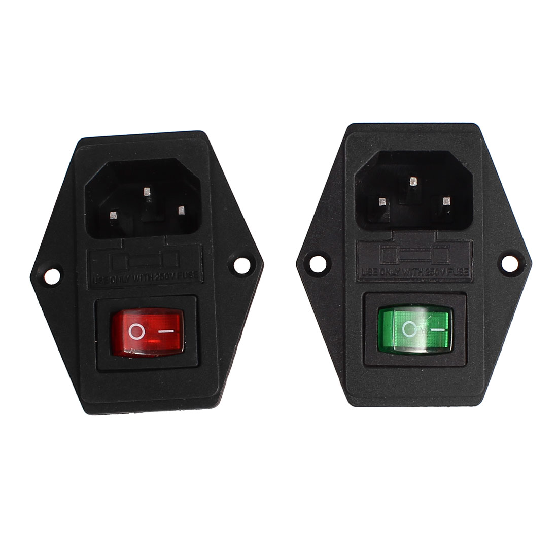2 Pcs 3Pin SPDT Green Red Light Rocker Switch IEC320 C14 Inlet Power Socket w Fuse AC 250V 5A