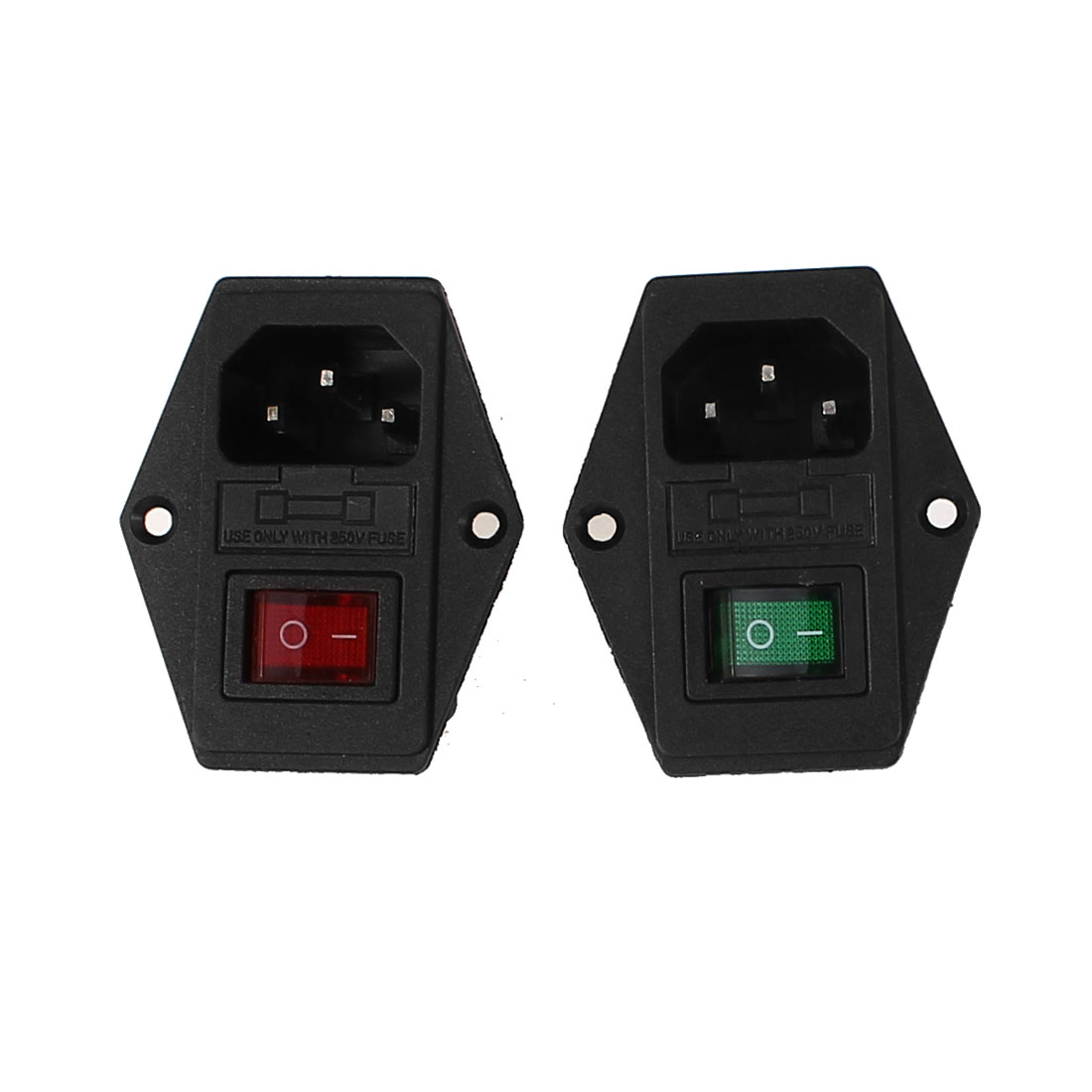 2 Pcs 4Pin DPST Green Red Light Rocker Switch IEC320 C14 Inlet Power Socket w Fuse AC 250V 5A