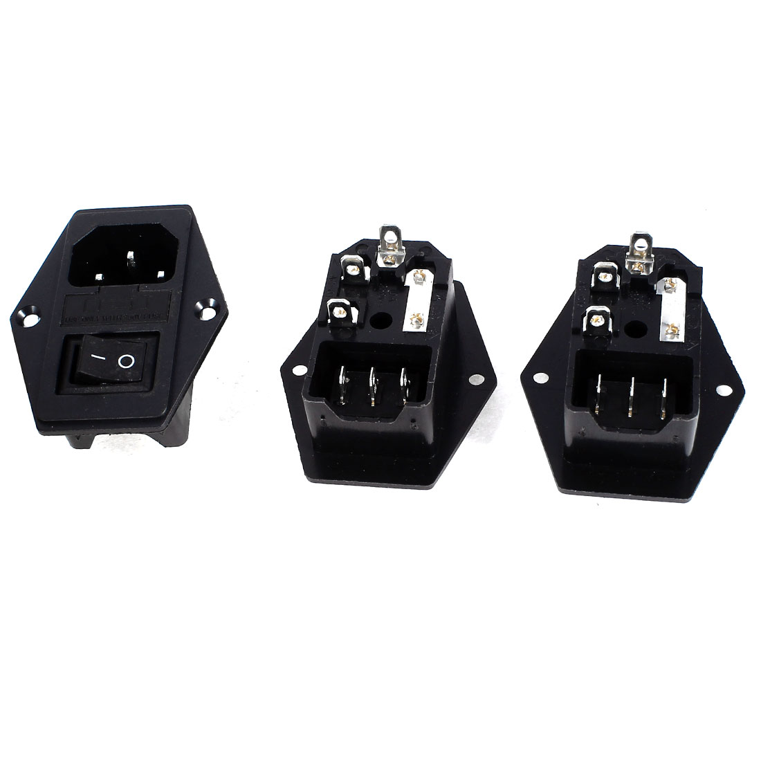 3 Pcs Panel Mount 3Poles SPDT Rocker Switch IEC320 C14 Inlet Power Socket w Fuse AC 250V 5A