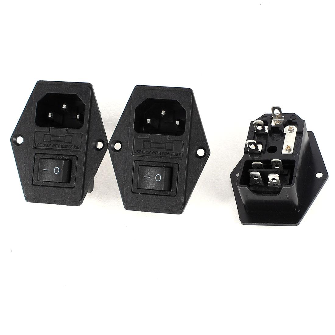 3 Pcs Panel Mount DPST Rocker Switch Fuse IEC320 C14 Inlet Power Socket AC 250V 5A