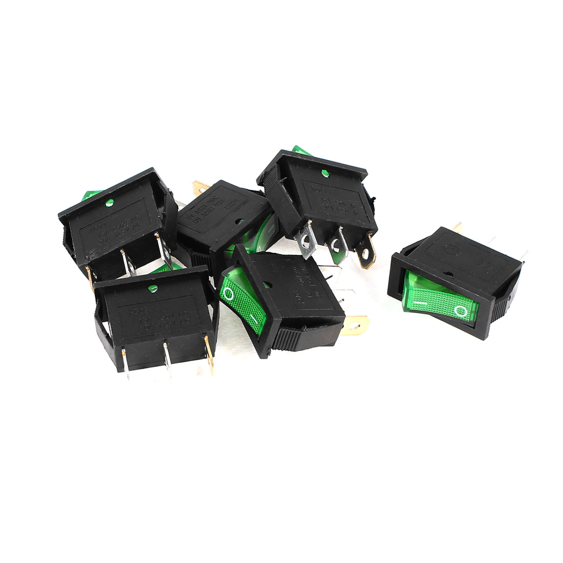 6 Pcs KCD3 3Pin 2Position SPST On/Off Green Light Snap in Panel Mount Rocker Switch AC 15A 250V
