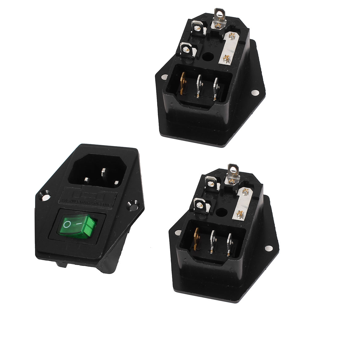 3 Pcs 3Pin SPST Green Light Rocker Switch IEC320 C14 Inlet Power Socket w Fuse AC 250V 5A