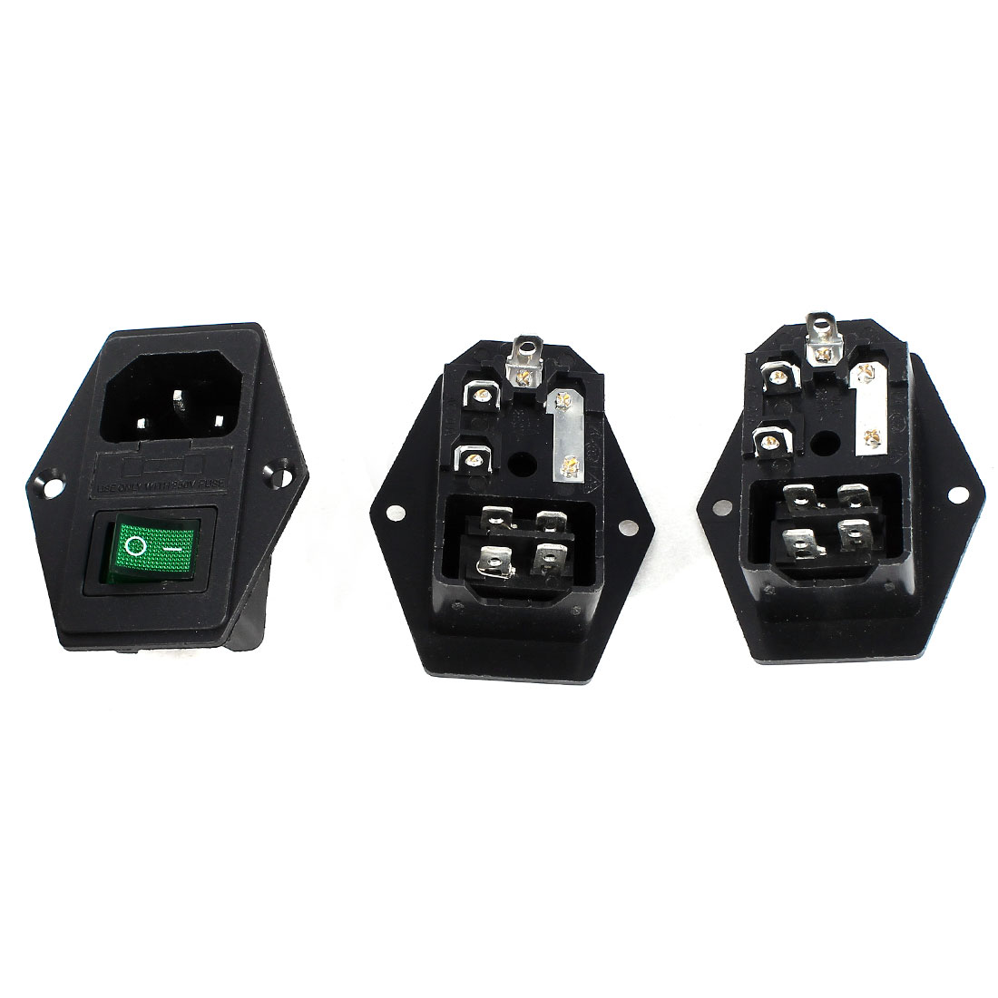 3 Pcs 4Pin DPST Green Light Rocker Switch IEC320 C14 Inlet Power Socket w Fuse AC 250V 5A