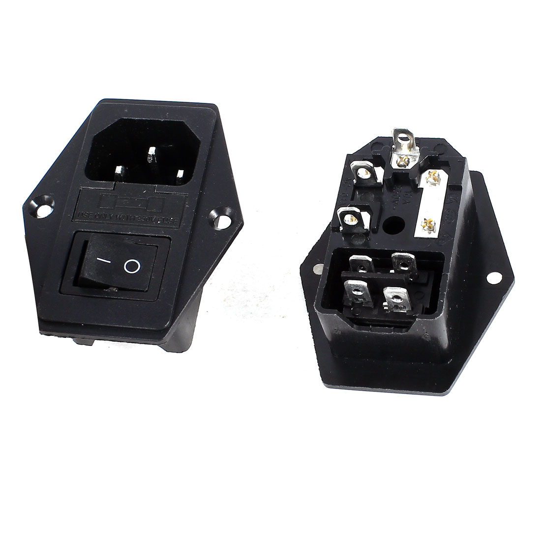 2 Pcs Panel Mount DPST Rocker Switch Fuse IEC320 C14 Inlet Power Socket AC 250V 5A