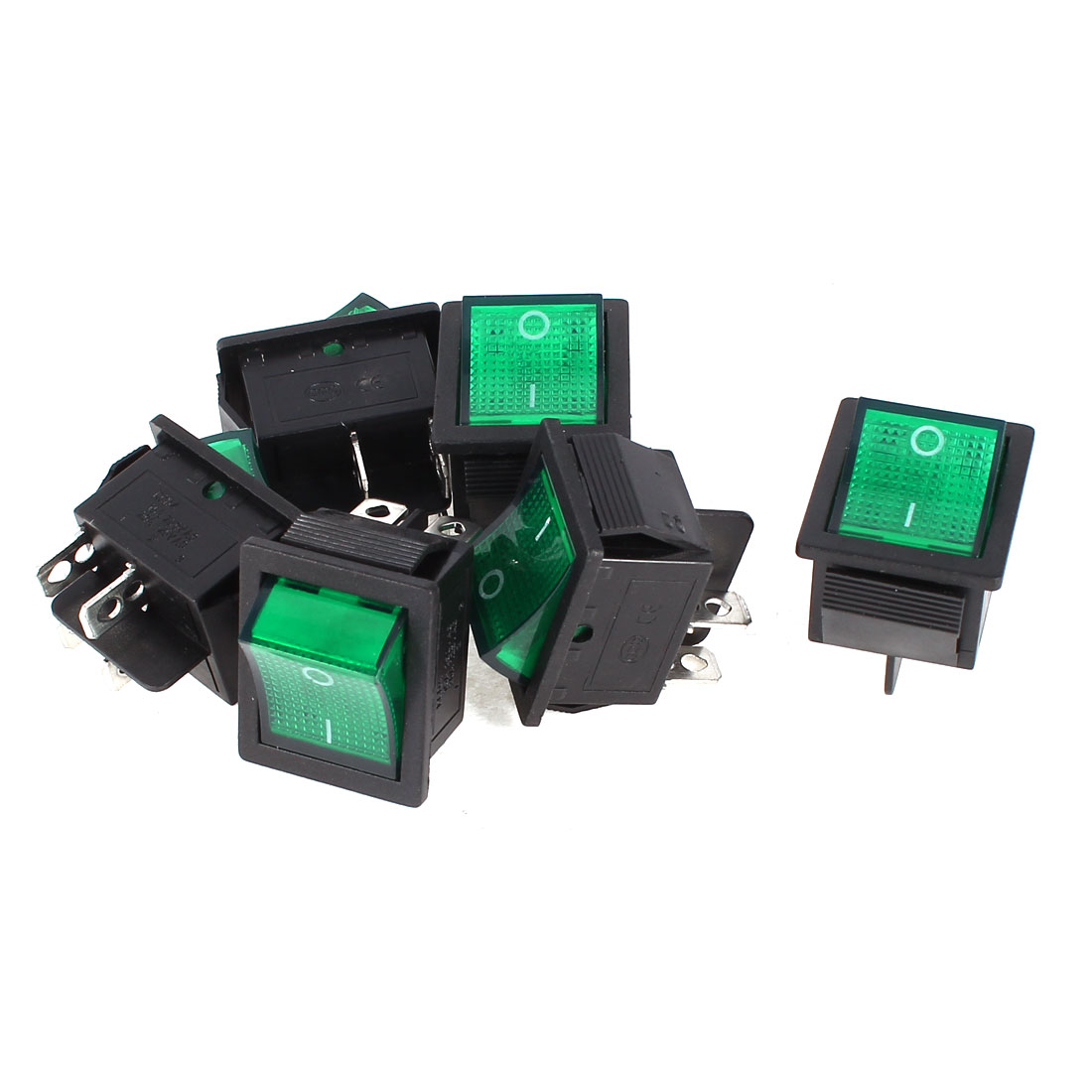 6 Pcs KCD4 DPST 4Pin On/Off Snap in Panel Mount Rocker Switch Green Light AC 15A/250V 20A/125V