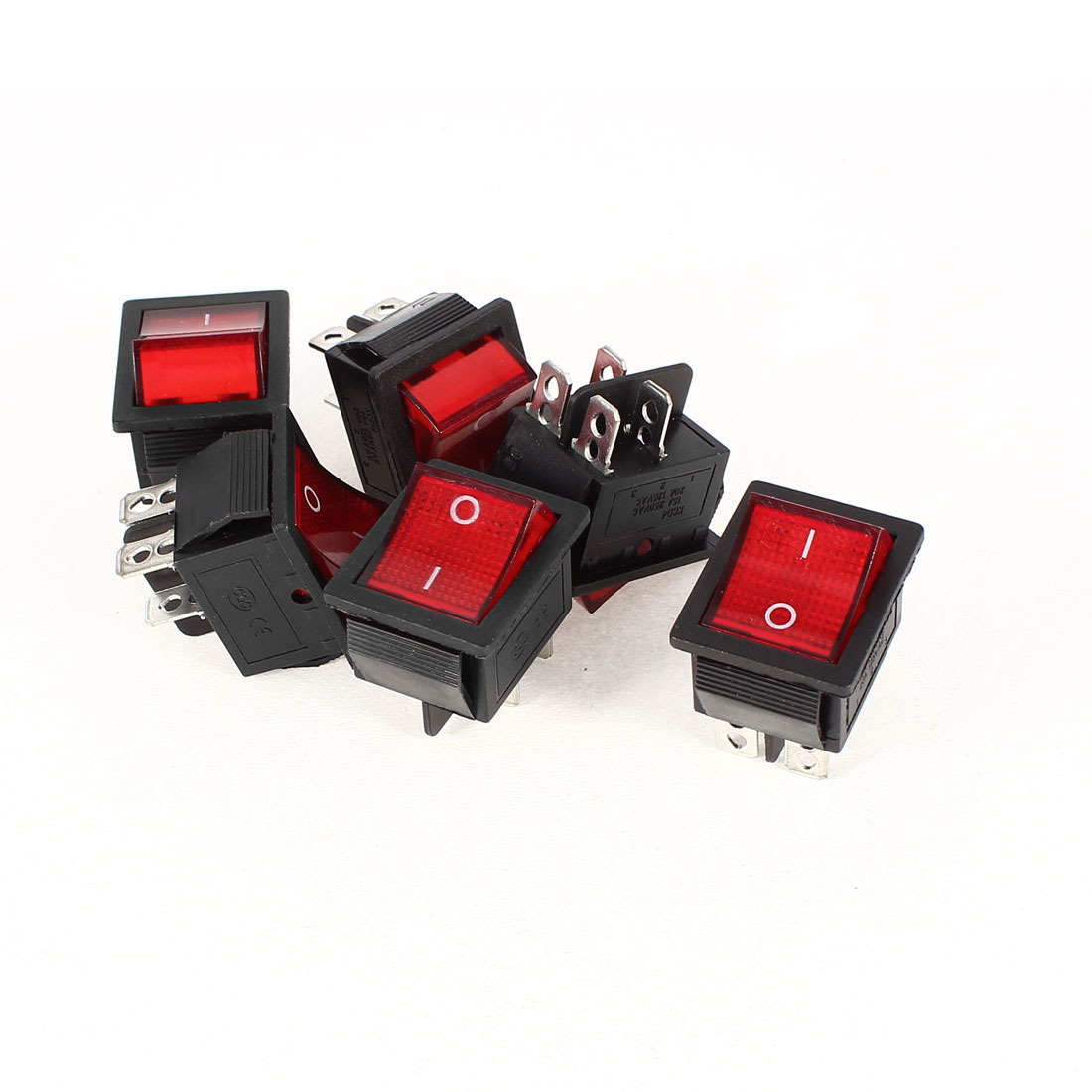 6 Pcs KCD4 DPST 4Pin On/Off Snap in Panel Mount Rocker Switch Red Light AC 15A/250V 20A/125V