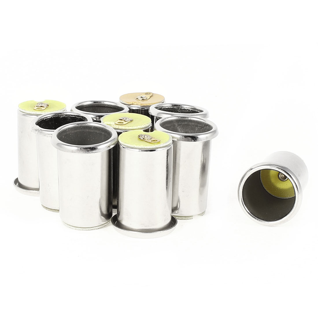 10 Pcs Silver Tone Metal Cylinder Shell Car Cigarette Cigar Lighter Socket Female
