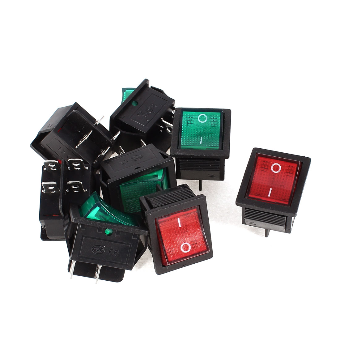 8 Pcs KCD4 DPST 4Pin On/Off Snap in Panel Mount Rocker Switch Green Red Light AC 15A/250V 20A/125V