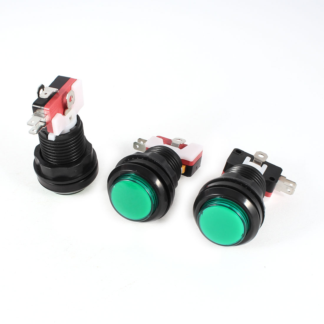 3 Pcs Panel Mount 3Pin SPDT NC Green Push Button Momentary Switch AC 100-240V