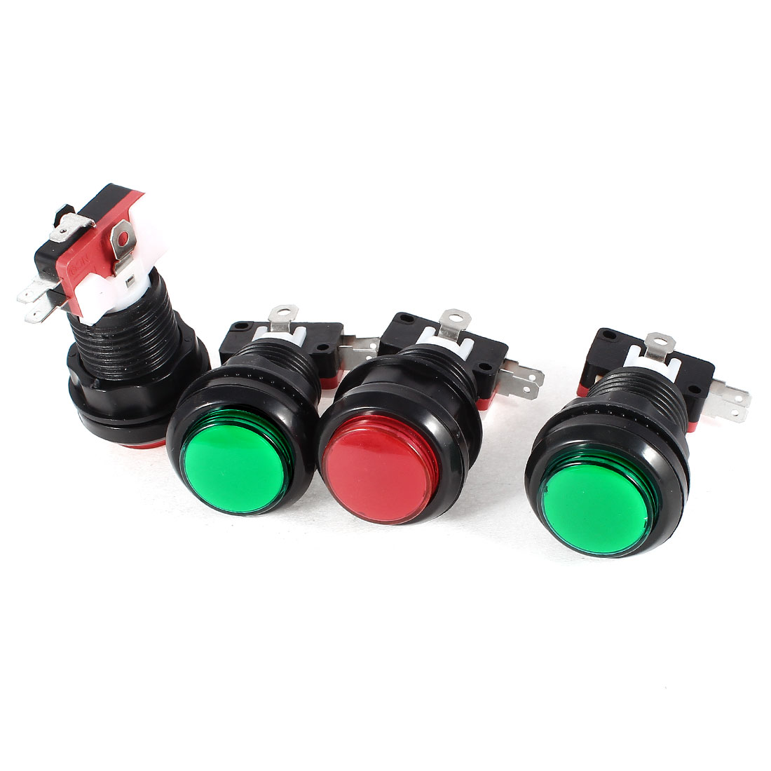 4 Pcs Panel Mount 3Pin SPDT NC Green Red Push Button Momentary Switch AC 100-240V
