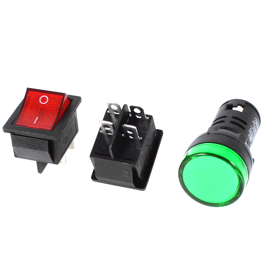 2x KCD4 DPST Red Light Rocker Switch + 1x AD16-22D/S Green Pilot LED Lamp AC 380V