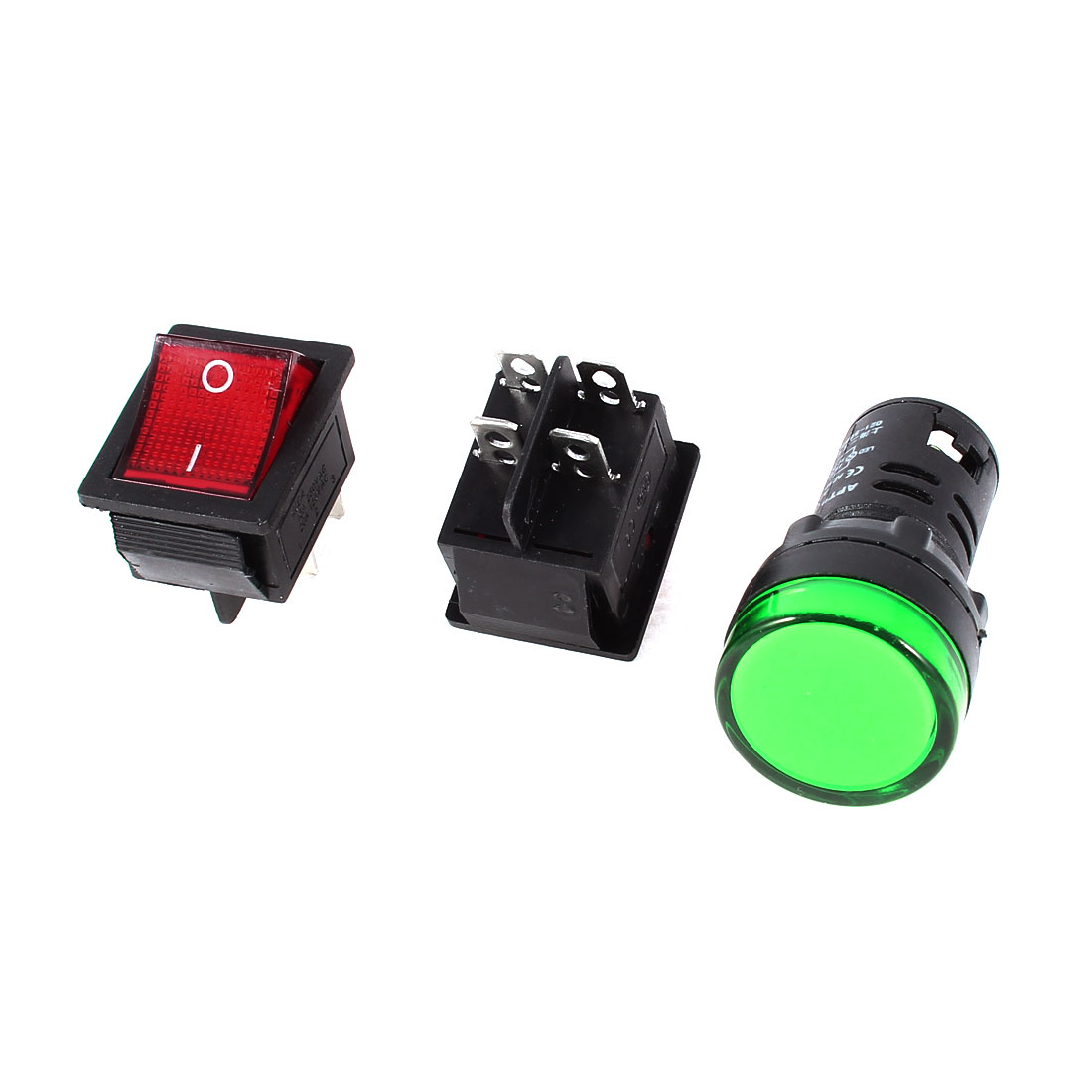 2x KCD4 DPST Red Light Rocker Switch + 1x AD16-22D/S Green Pilot LED Lamp DC 12V