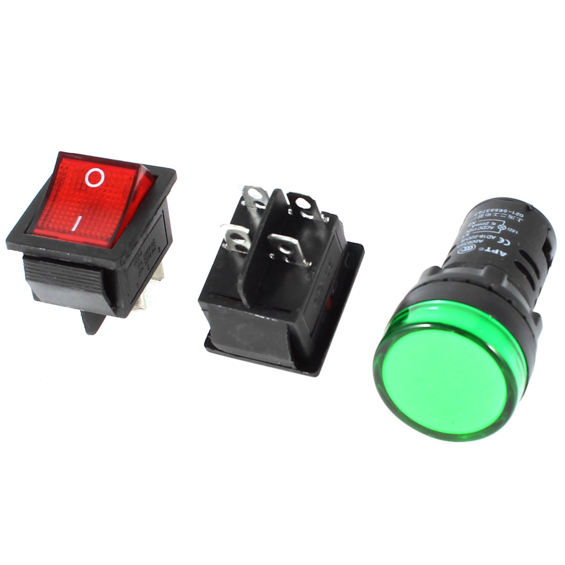 2x KCD4 DPST Red Light Rocker Switch + 1x AD16-22D/S Green Pilot LED Lamp AC 110V