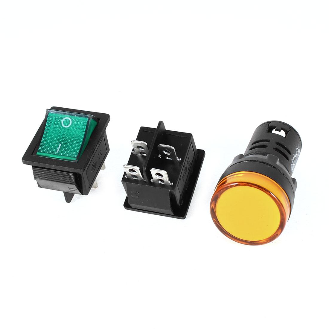 2x KCD4 DPST Green Light Rocker Switch + 1x AD16-22D/S Yellow Pilot LED Lamp DC 24V