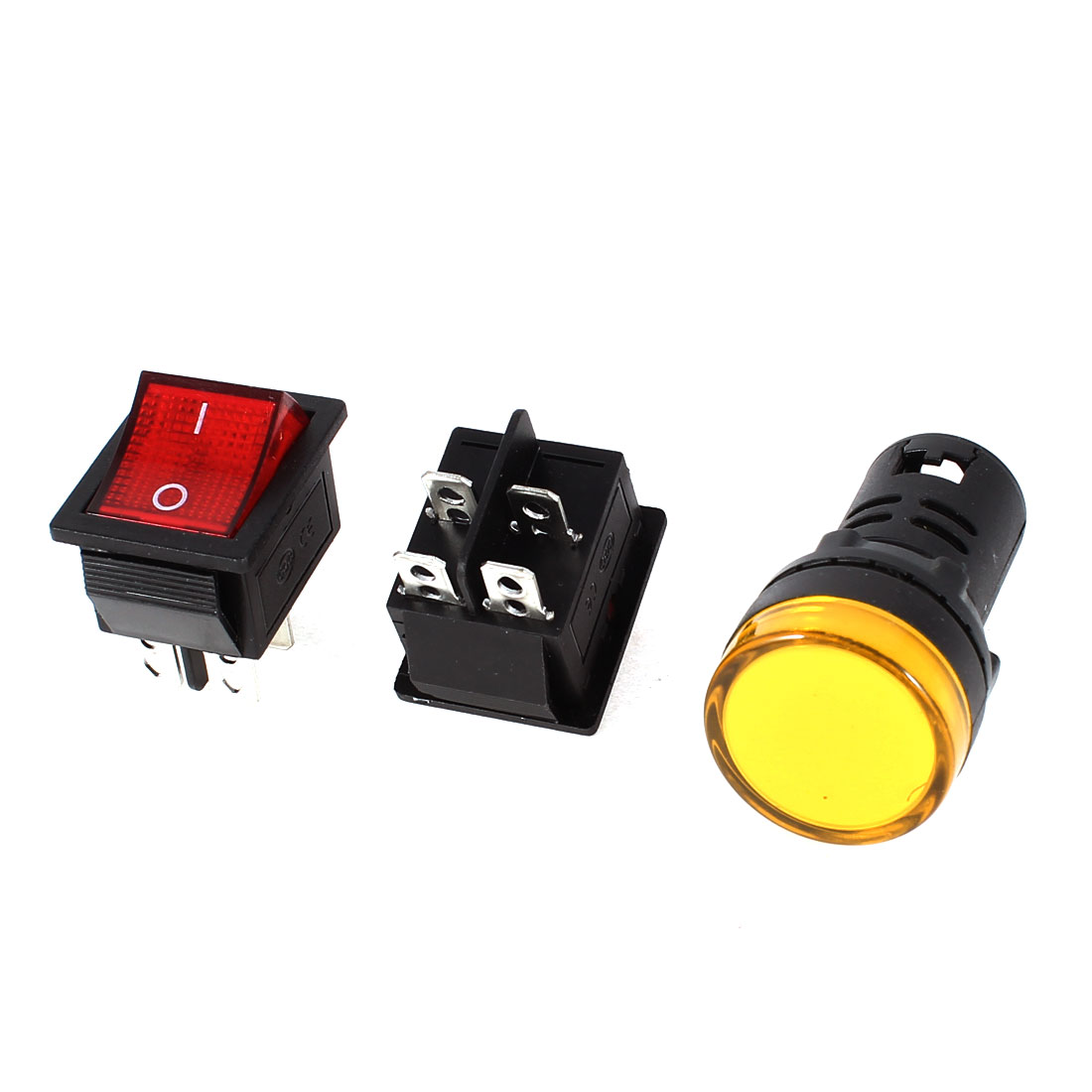 2x KCD4 DPST Red Light Rocker Switch + 1x AD16-22D/S Yellow Pilot LED Lamp DC 12V