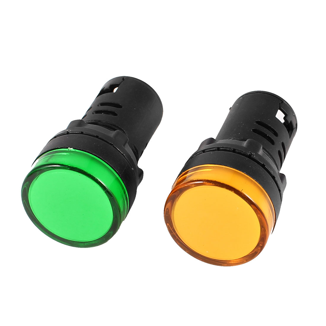 2 Pcs AD16-22D/S Green Yellow LED Pilot Light Panel Indicator Lamp 22mm AC 220V 20mA