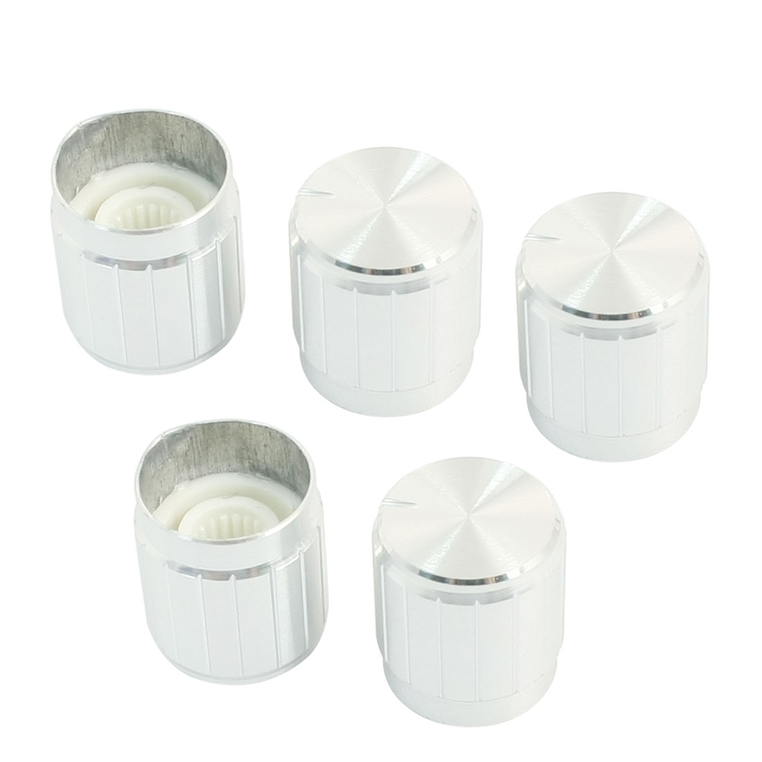 5Pcs 6mm Dia Knurled Shaft Silver Tone Potentiometer Rotary Knobs Caps