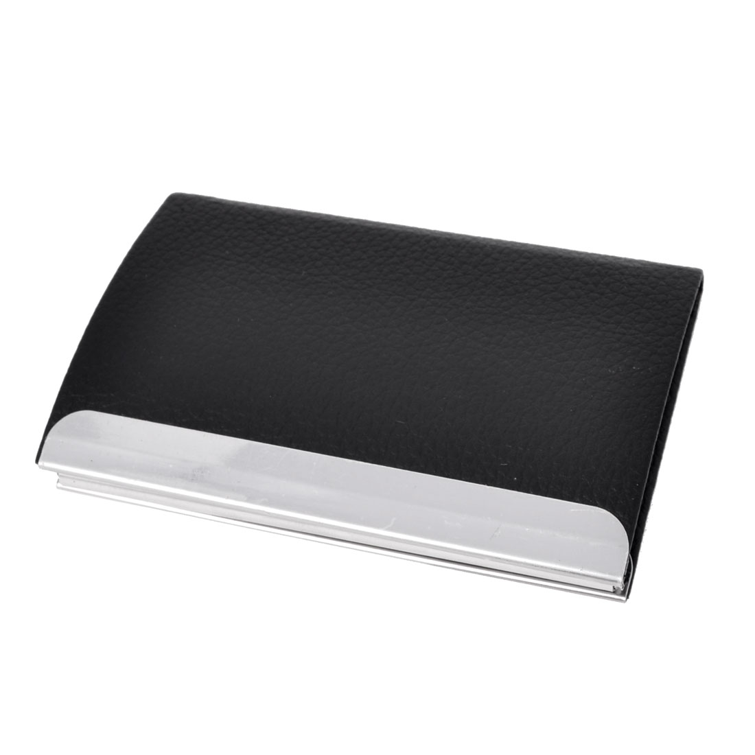 Black Litch Pattern Faux Leather Coated Business Card Holder Case