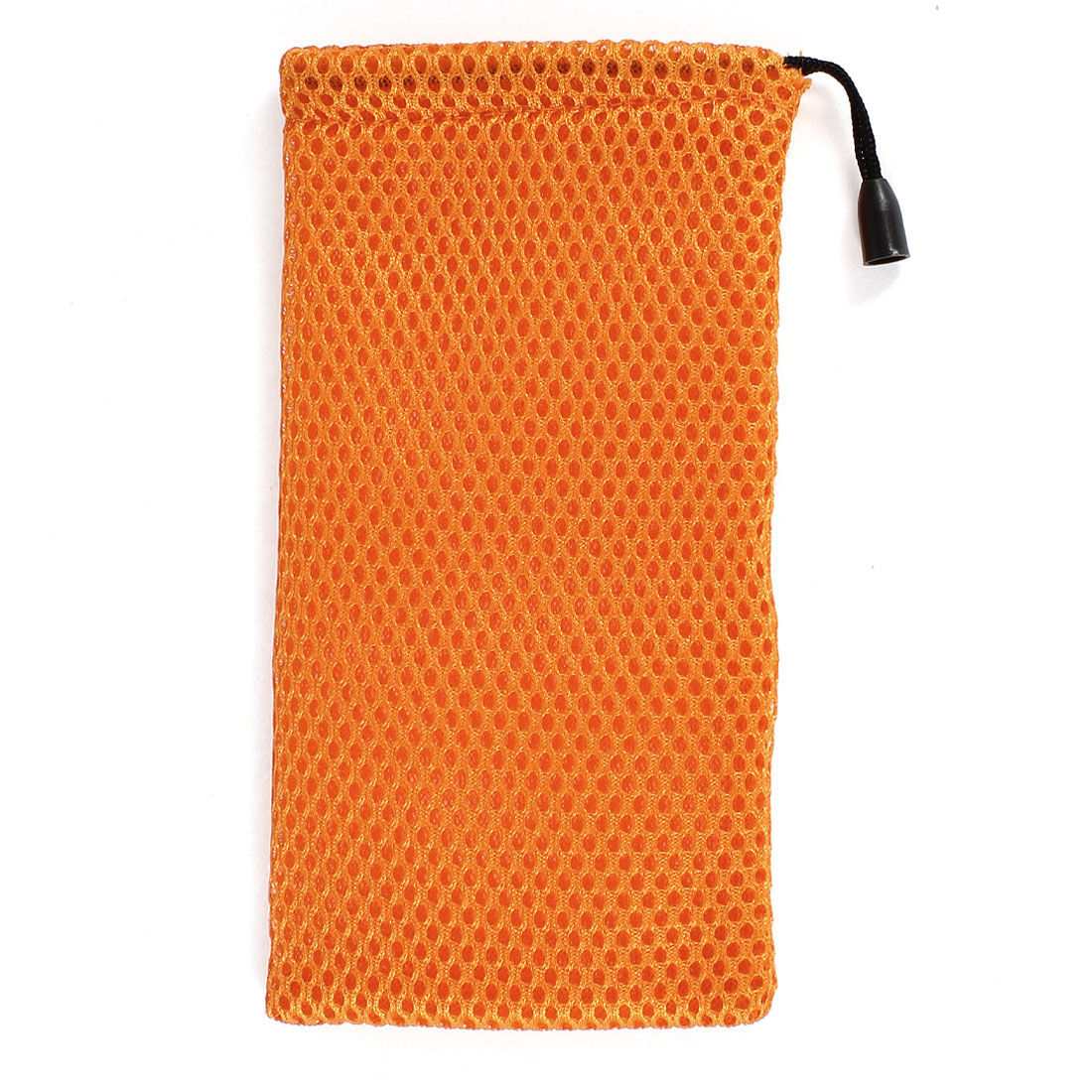 Orange Soft Nylon Mesh Rectangle Drawstring Glasses Sunglasses Bag Holder