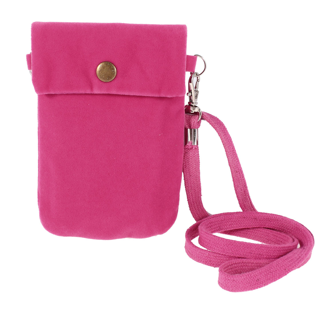Amaranth Flannel Detachable Strap Pouch Bag Holder for Cell Phone
