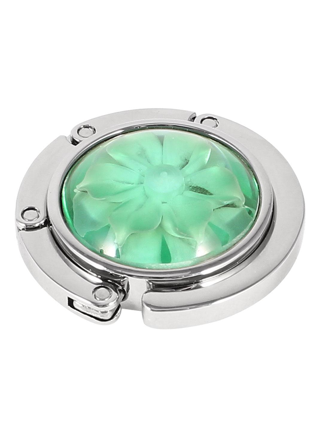 Women Floral Decor Foldable Round Handbag Purse Hook Green Silver Tone