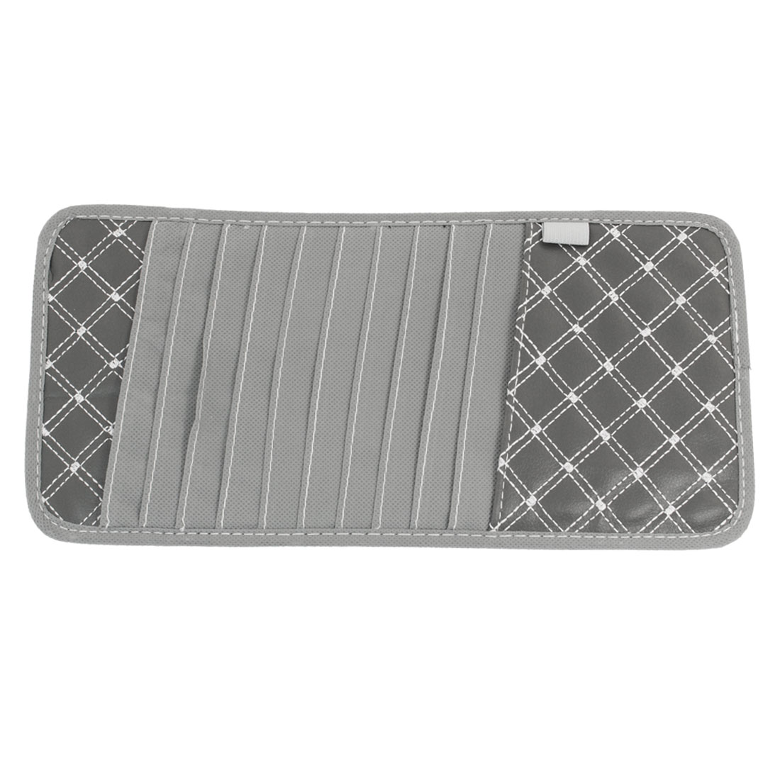 Car Sun Visor Grid Pattern Faux Leather 11 CD DVD Storage Holder Card Case Gray