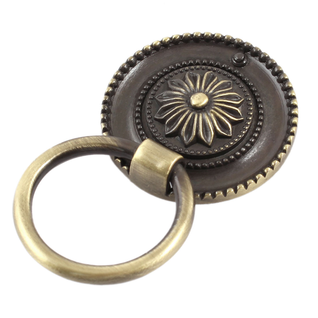 "Bronze Tone Flower Pattern Metal Ring Furniture Door Pull Handle Grip 1.4"" Diameter"
