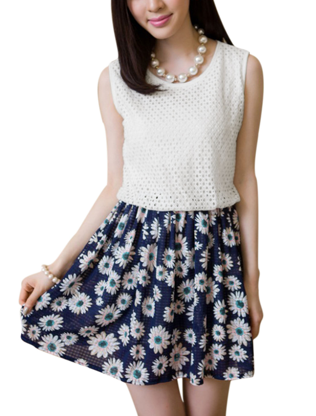 Lady Hollow Out Design Floral Prints Fully Lined Dress Navy Blue S