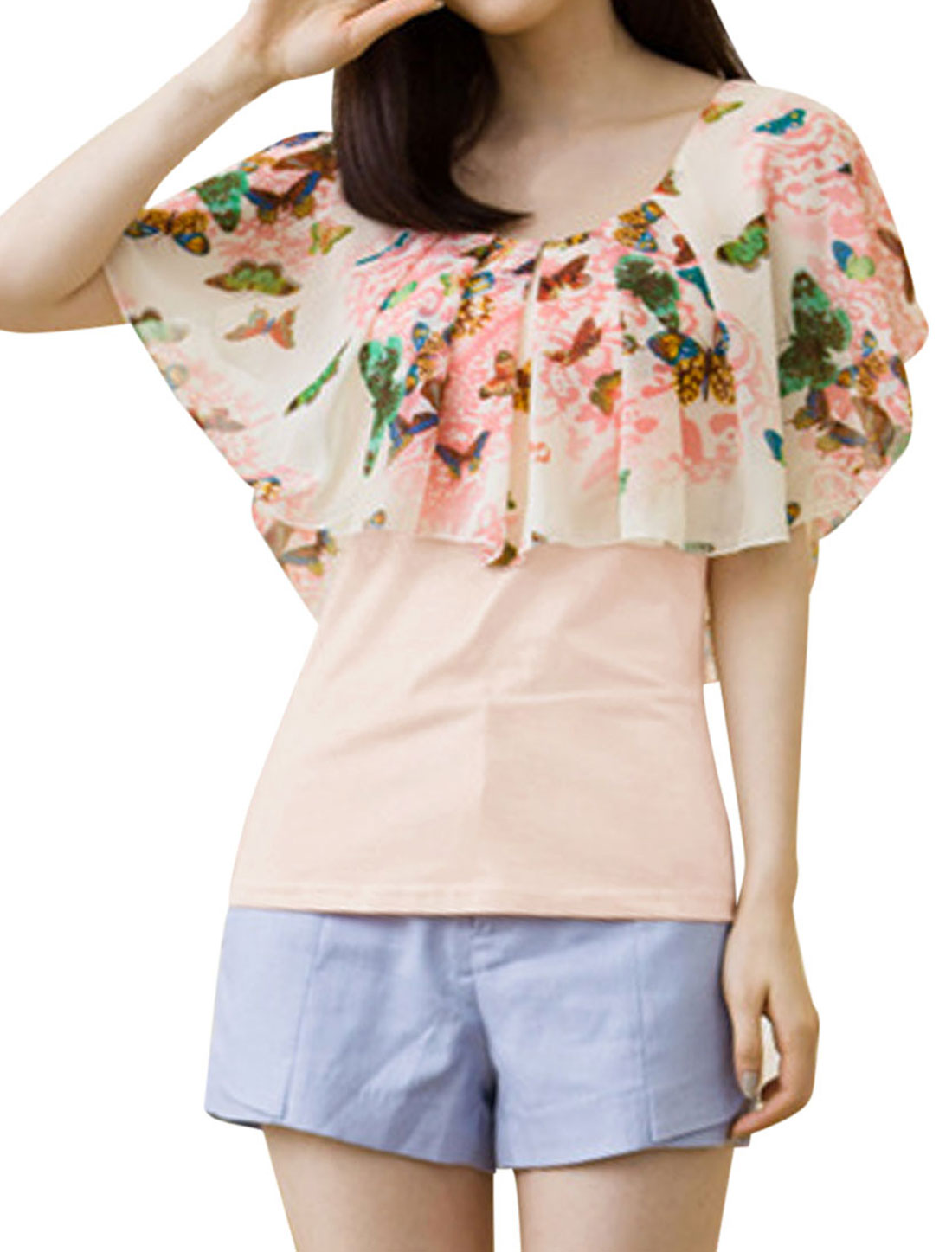 Ladies Butterfly Pattern Chiffon Splicing Sweet Top Pink White S