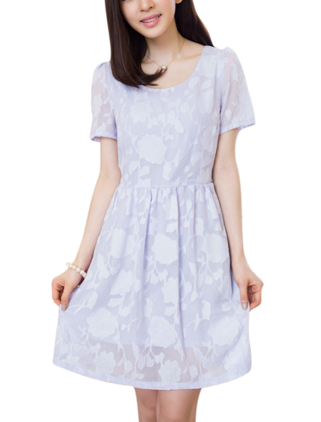 Ladies Flower Textured Design Full Lined Summer Fit Chiffon Dress Light Purple M