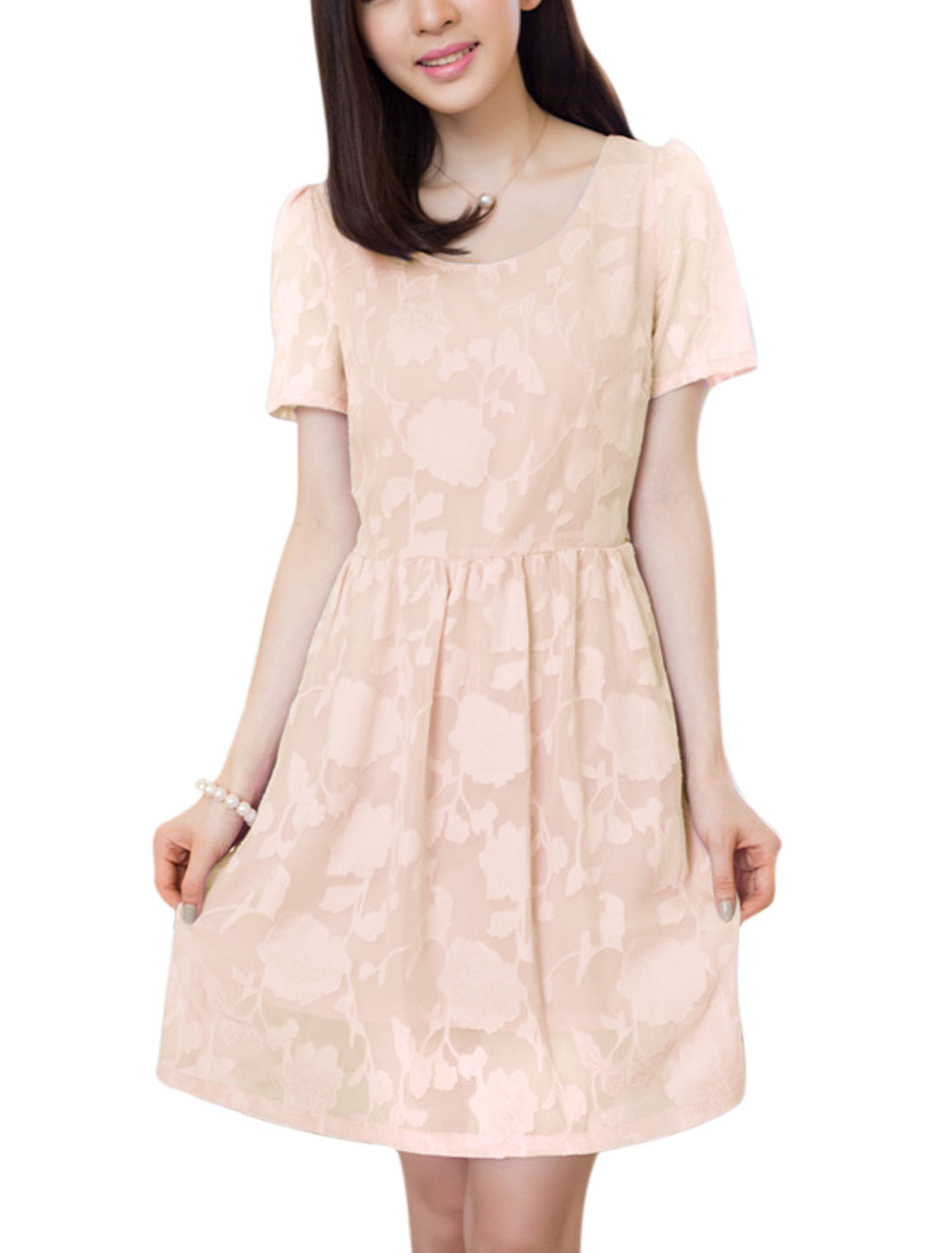 Ladies Flower Textured Design Pleated Detail Chiffon Dress Light Pink M