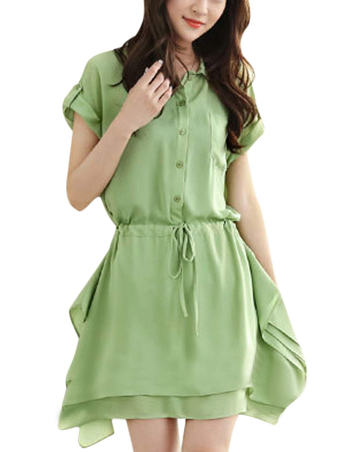 Lady 1/2 Placket Drawstring Waist Tiered Irregular Hem Shirt Dress Light Green S
