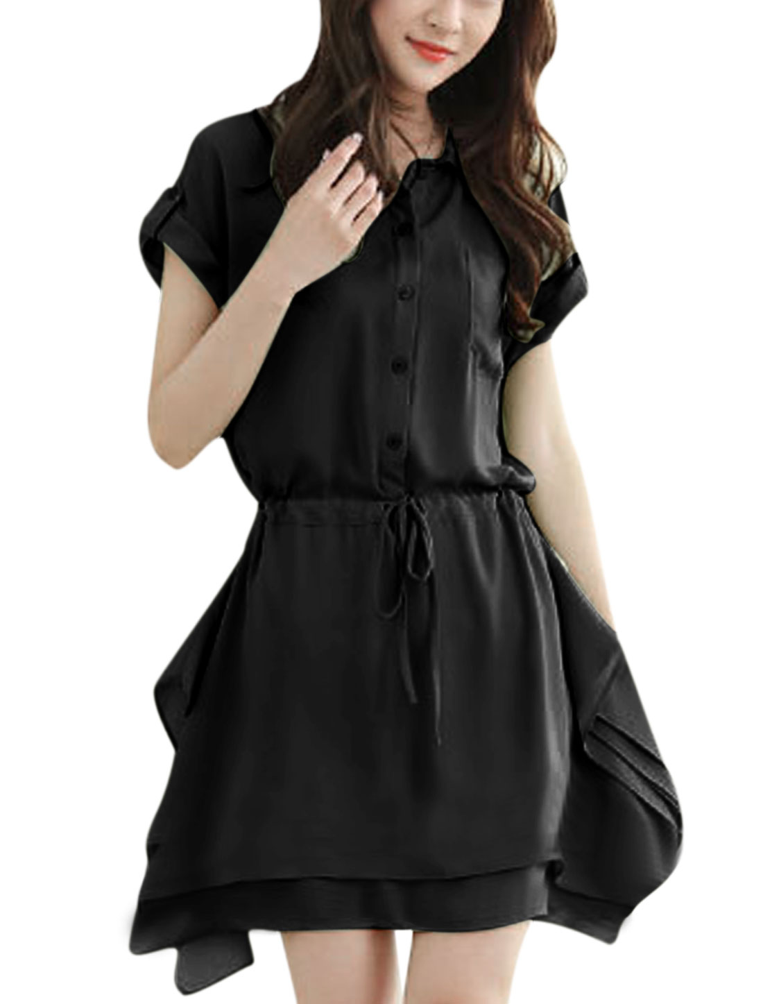 Lady 1/2 Placket Drawcord Waist Tiered Irregular Hem Shirt Dress Black S