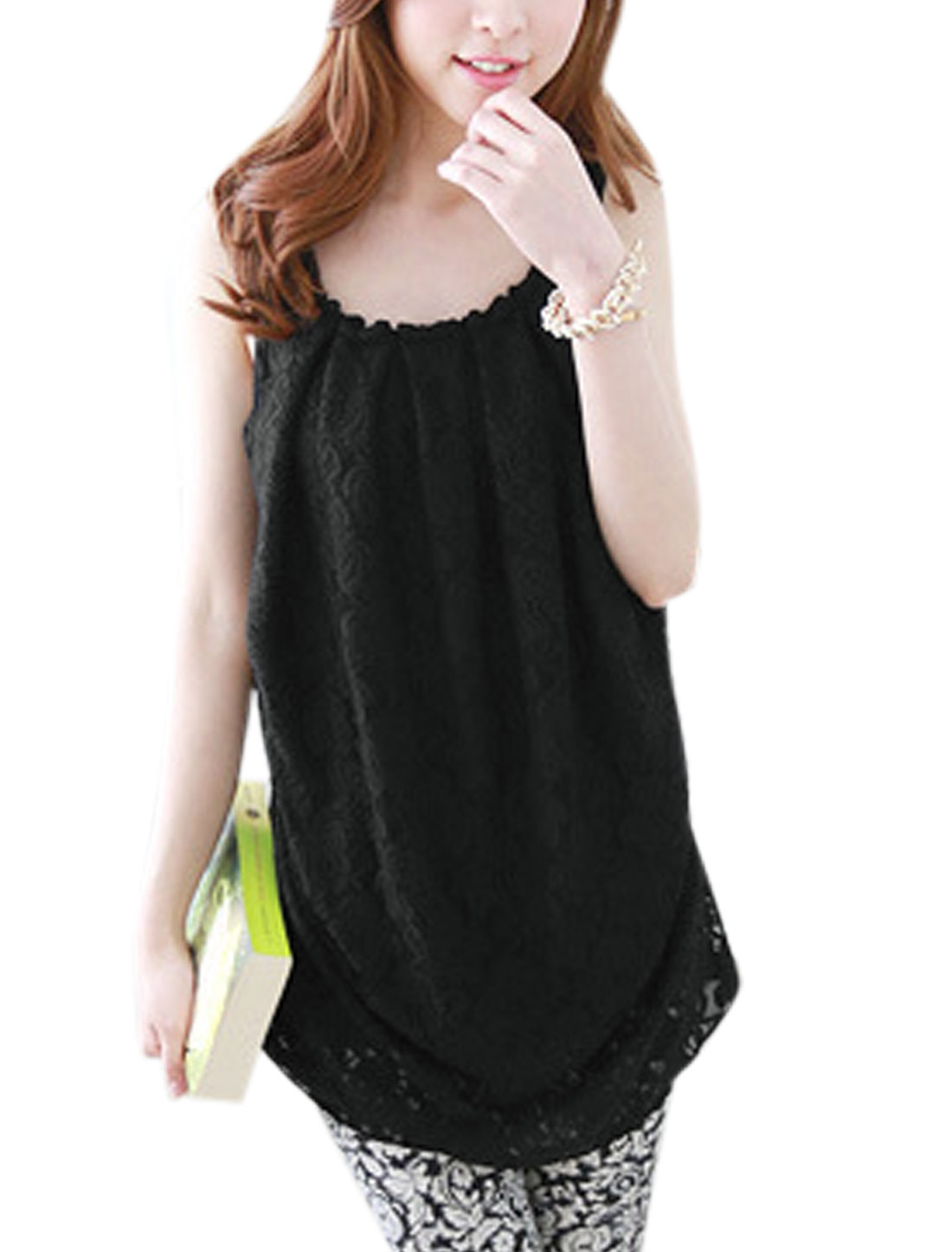 Ladies Lace Splicing Shirred Side Leisure Chiffon Tunic Top Black XS