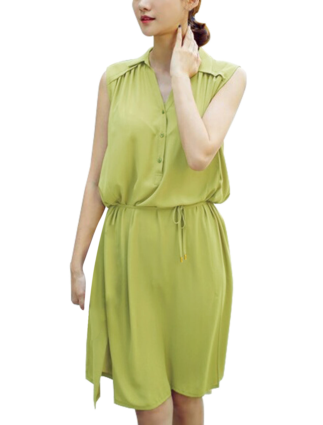 Lady's Sleeveless Self Tie Strap Waist Split Side Unlined Chiffon Dress Green M