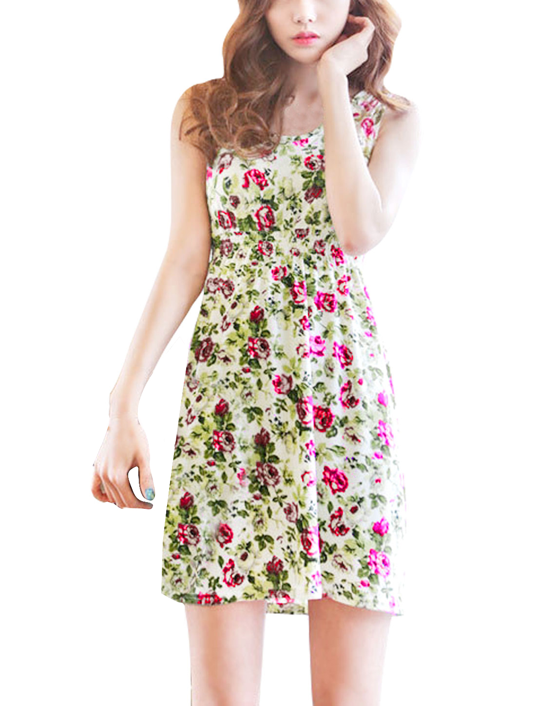 Lady's Sleeveless Elastic Waist Floral Pattern Casual Short Dress Beige XS