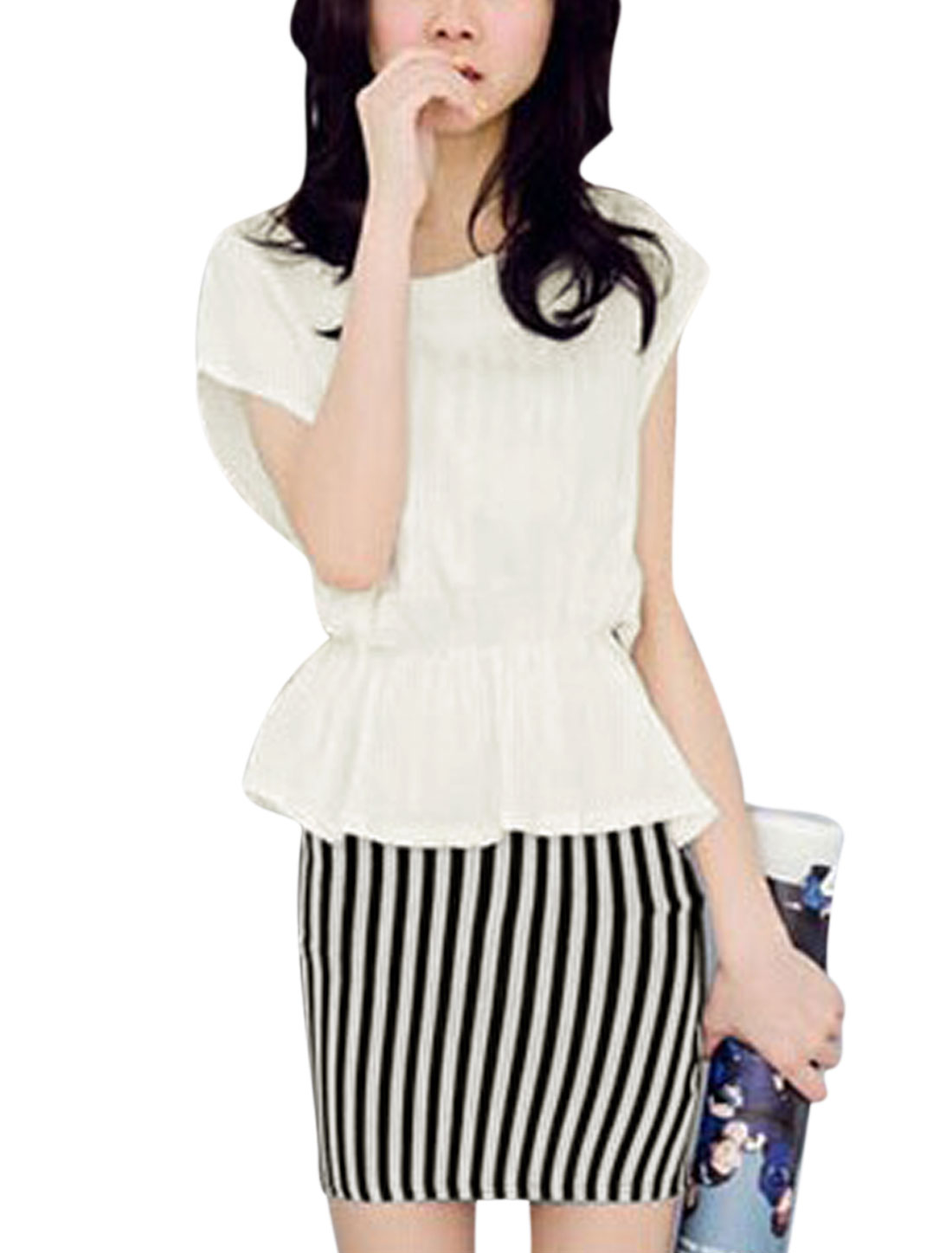Lady Stripes Slim Fit Dress w Sleeveless Elastic Waist Top White M