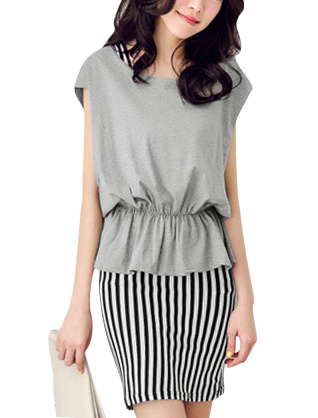 Lady Stripes Slim Fit Dress w Sleeveless Stretchy Waist Top Gray M
