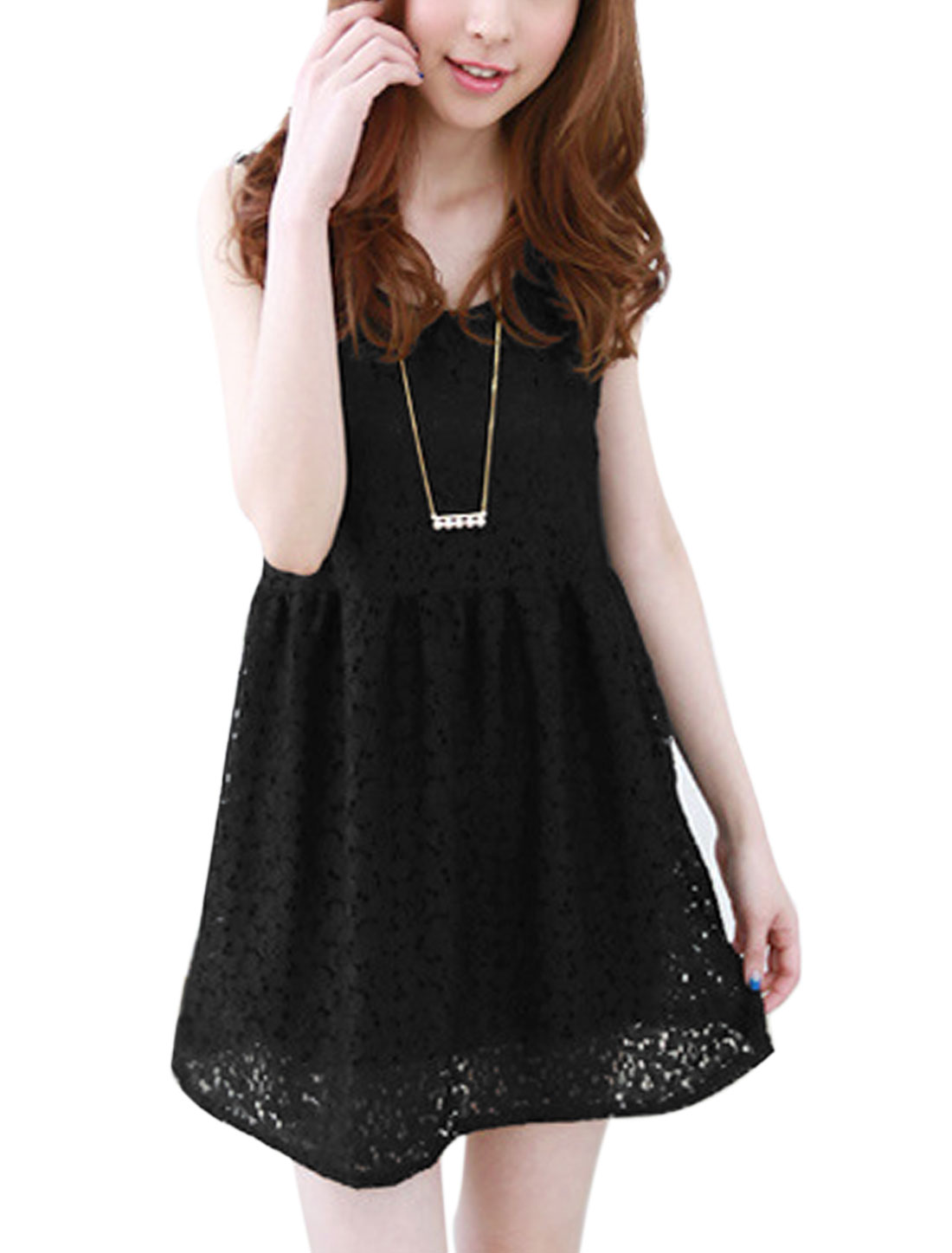 Lady Sleeveless Lace Overlay Flower Design Fully Lined Skater Dress Black S