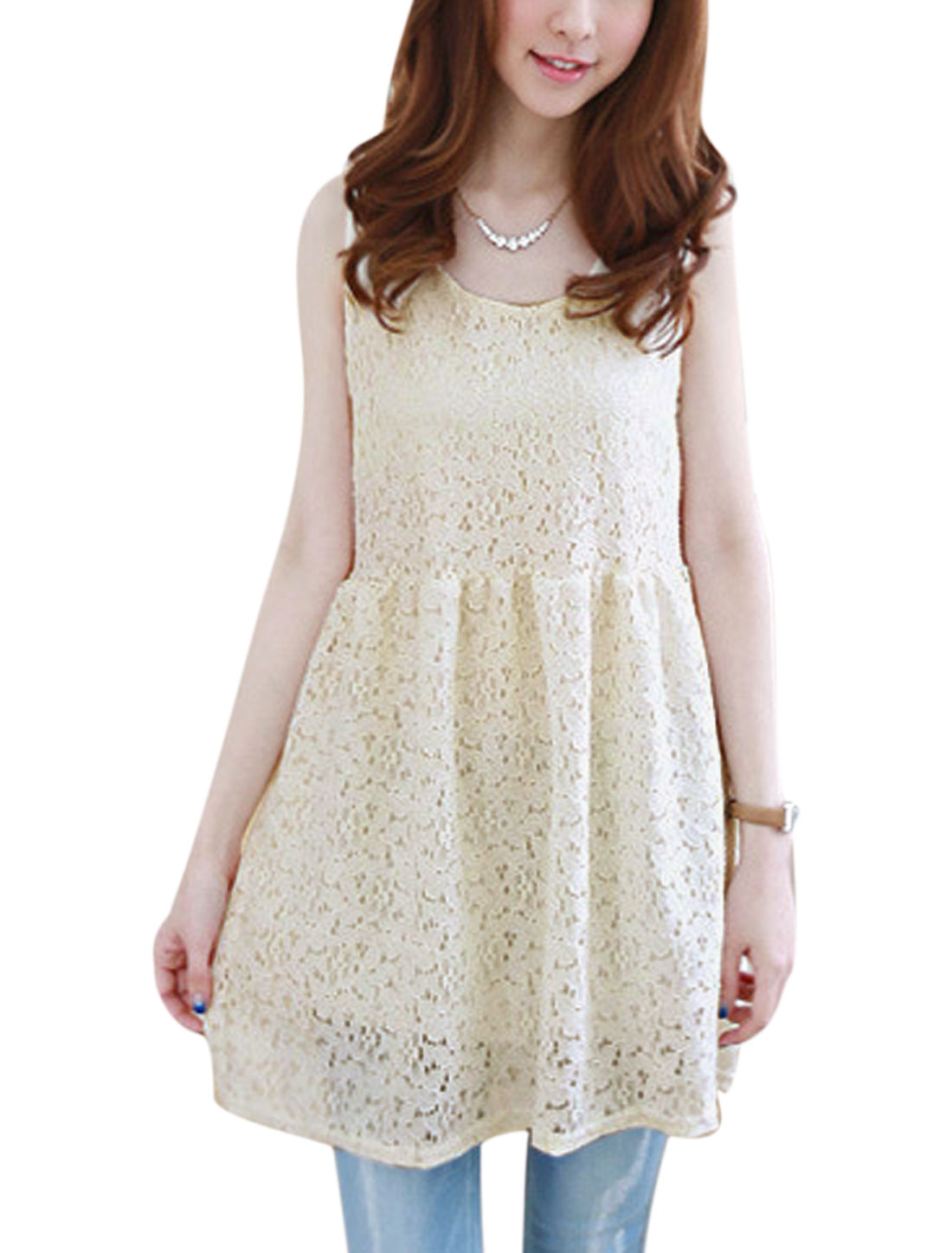 Lady Casual Lace Overlay Flower Design Fully Lined Skater Dress Beige S