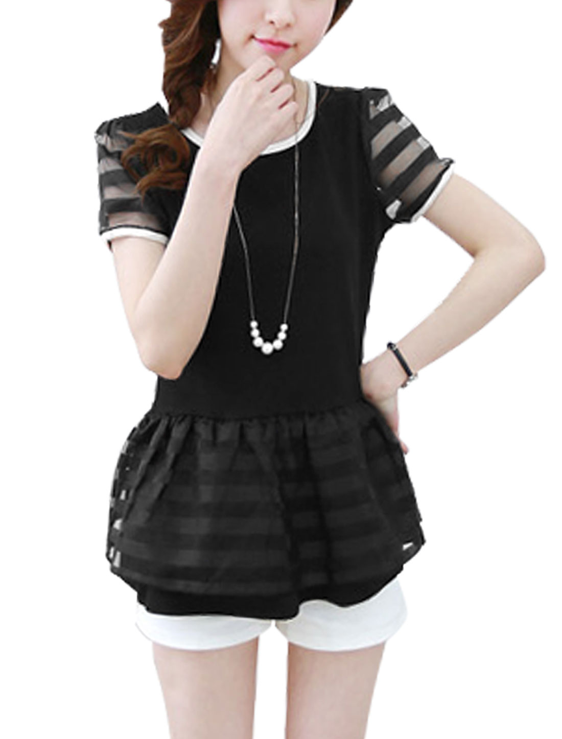 Ladies Organza Patchwork Stripes Design Sweet Chic Peplum Top Black S