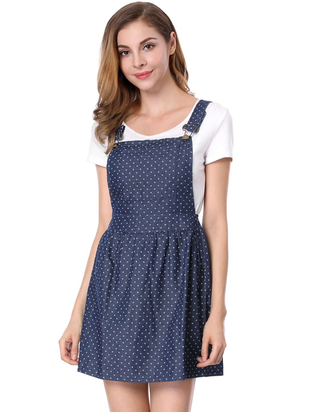 Women Dots Pattern Adjustable Shoulder Straps Denim Overall Dress Dark Blue M
