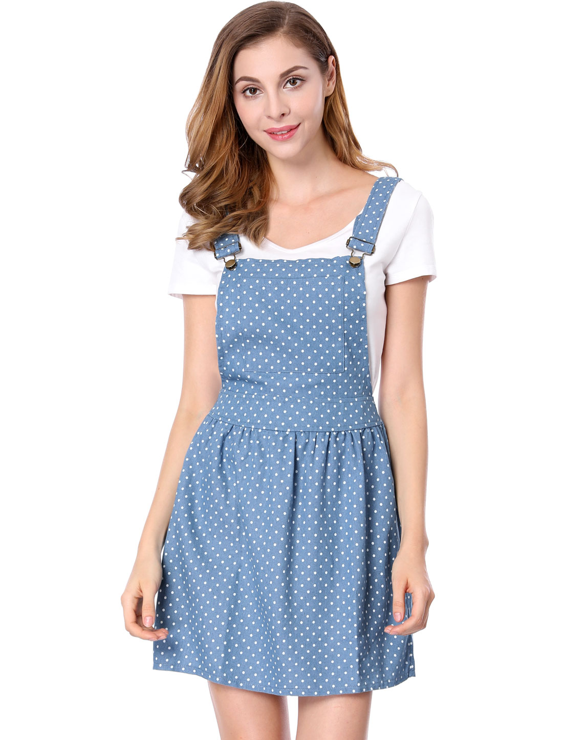 Women Dots Pattern Above Knee Denim Overall Dress Light Blue M
